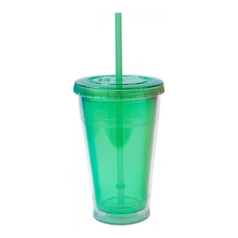 Кружка дорожная Cool Gear Eco 2 Go Color с трубочкой (зеленый)